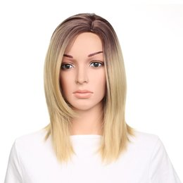 Ombre Wigs For Cheap UK - Short Ombre Brown to Blond Color Synthetic Lace Front Wigs Heat Resistant Cheap Selling Hot Fashion for Women Free Shipping