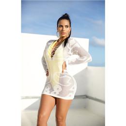 a1a33339f768 Le donne sexy bianco a maglia vedere attraverso maniche lunghe Beach  Sundress Club Party Dress Dress Dress Solid completo scollo a V scava fuori
