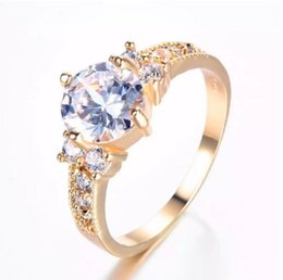 2fb8d501e Yellow gold rings for women online shopping - New Colors Brand Female Round  Zircon Ring Fashion