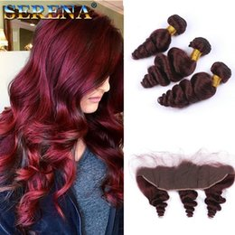 Loose wave red braziLian online shopping - Wine Red Burgundy Brazilian Hair Bundles with x4 Frontal Lace Closure J Loose Wave Wavy Human Hair Weaves with Ear to Ear Lace Frontal