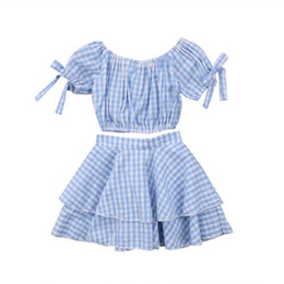 $enCountryForm.capitalKeyWord UK - Kids Baby Girl Plaid Off Shoulder Crop Top +Mini Skirt Outfits Clothes Summer 2Pcs Kid Girls Clothing Set