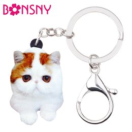 Discount cat key jewelry - Acrylic Cartoon Cute Kitten Cat Key Chains Keychains Rings Novelty Animal Jewelry For Women Girls Teens Bag Purse Charms