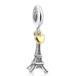 Wholesale Authentic Sterling Silver Eiffel Tower Dangle Pendant Beads Charm Fit Pandora Bracelet Bangle For Women DIY Jewelry Marking