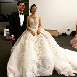 f9fd6cce10 Michael Cinco 2018 Luxuey Off Shoulder Sweetheart Embroidery Pearls  Apliqued Tulle Ball Gown Cathedral Train Puffy Wedding Dresses Overskirt