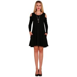 1ebe1393449 Women Long Sleeve Casual Loose Swing T-Shirt Dress Off Shoulder Tunic  Pockets Mini Dress Black White Grey Green Burgundy Blue