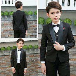Discount boys suits wedding gold - Gentlemen Black Boy Formal Wear Two Botton Custom MadeTie Pants Vests Wedding Evening Party Tuexdos Suits