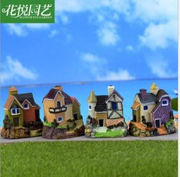 Small House Decoration NZ - 4 style Russian style country house Moss micro landscape Decorative b figurines toys ornaments resin small house model gifts DIY materials