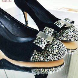 Ladies Wedding Shoes Australia - Brand Design Metal Crystal Buckle Bowtie Suede Leather Party Office Wedding Lady Low High Heel Dress Pumps Women Shoes come with Box