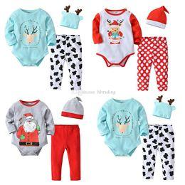 c99b5788b3a Baby Xmas outfits children boys girls Santa Claus deer elk print romper+ pants with hat 3pcs set Christmas Autumn kids Clothing Sets C5097