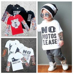 Hip Hop Clothing Babies Canada - Fashion Baby Long Sleeve T-shirts Tattoo Letter Clothing Hip Hop Style Long Sleeve INS Toddler Patchwork Clothes