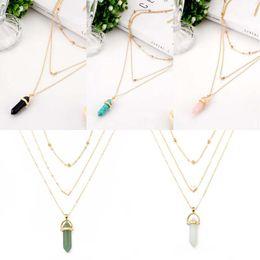 $enCountryForm.capitalKeyWord Australia - Hexagonal Column Necklaces Crystal Pendants Love Bead Chain Multi-layer Necklace For Women Fashion Jewelry Christmas Gift D782S