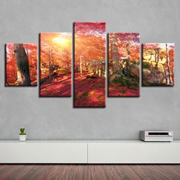 $enCountryForm.capitalKeyWord NZ - Pictures Living Room Home Decor 5 Pieces Red Forest Sunshine Canvas Poster Wall Art Paintings Modular Frame HD Printed Landscape