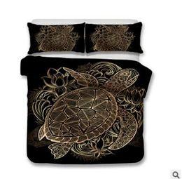 Chinese  US AU Size Turtles Bedding Set Duvet Animal Golden Tortoise Elephant Bed Cover Set King Sizes Flowers Lotus Home Textiles 3pcs Luxury manufacturers