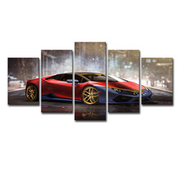 Sports Canvas Prints NZ - Canvas Painting Wall Art Frame Home Decor Living Room Pictures 5 Pieces Red Luxury Sports Car Huracan Posters HD Printed