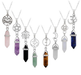 Chinese  128 Style Star Lotus Hexagonal Prism Necklaces Gemstone Rock Natural Crystal Quartz Healing Point Pendulum Chakra Long Women Yoga Necklace manufacturers