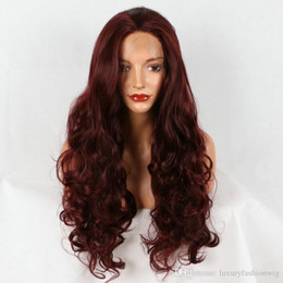 """$enCountryForm.capitalKeyWord Australia - Lace Front Wigs 24"""" picture color Afro Mixed Red Long Curly Hair Ombre Lace Front Wig Halloween+Cap lave front wigs kabell wigs"""
