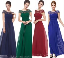 blue line scoop beading dress 2019 - Vestidos De Novia Cheap In Stock Bridesmaid Dresses A Line Cap Sleeves Lace Appliqued Chiffon Long Formal Prom Evening D