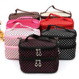 $enCountryForm.capitalKeyWord Australia - 2018 cute dot 2 layer cosmetic bag women travel necessaries high-capacity storage laptop makeup organizer handbags