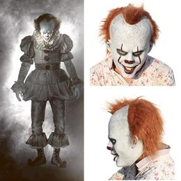 Wholesale Scary Halloween pennywise mask Costume Stephen King IT Scary Clown Mask Men s Cosplay Prop Children Toy Trick or treat gift Y1891202