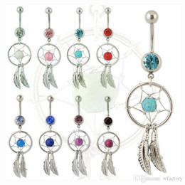$enCountryForm.capitalKeyWord NZ - Dreamcatcher Belly Button Ring Colorful Rhinestone Navel Belly Rings with Alloy Feather Body Piercing Women Girls Summer Jewelry