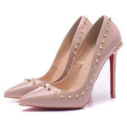 Discount red evening shoes - Fashion Luxury Brand Red Bottom High Heels Rivets Patent Leather Heeled Women High Heels Dress Shoes Evening Shoes 12 cm