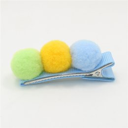 $enCountryForm.capitalKeyWord UK - Solid Novelty Cheap Mini Pastel Pink Blue Red Green Color Hairpin Cute Fashion Solid Plush Round Ball Girls Hair Clip