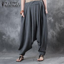 dc06835a01c00 2017 ZANZEA Vintage Striped Elastic Waist Women Baggy Drop-Crotch Harem  Pants Autumn Loose Lantern Trousers Pantalon Plus Size