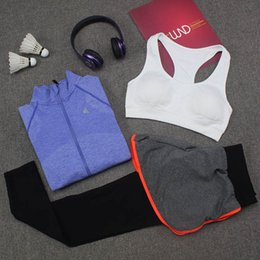 Discount navy blue yoga pants - Autumn New Yoga Suits Women Gym Clothes Fitness Running Tracksuit Sports Bra+Sport Leggings+Top 3 Piece Set S M&L XL Siz