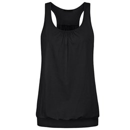 Top Womens Wholesale Clothing UK - Womens Sleeveless Round Neck Wrinkled Loose Racerback Workout Tank Top blusas top female summer plus size women clothing