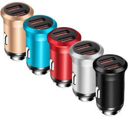 8a2488e99e6 2.4 A двойной USB автомобильное зарядное устройство Супер Мини металл  быстрое зарядное устройство смартфон быстрая зарядка адаптер для iPhone X 8  7 Samsung ...