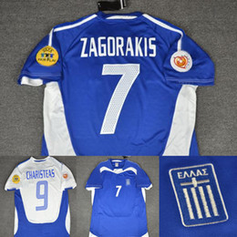 Euro soccEr online shopping - 2004 Greece Zagorakis Charisteas Retro Soccer Jersey Greece euro Blue Vintage MAGLIA Calcio Maillot de Foot Camisa Camisa de Futebol