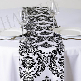 damask party supplies Australia - 10PCS European Flower tablecloth Party Supply Raised Blossom Flocked Overlay Damask Wedding Decoration Table Runner Cloth Cover
