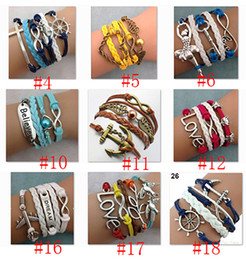 Wholesale Braided Leather Handmade Bracelet Mutilayer Love Infinity Anchor ID Pearl Bracelets Love Peach Heart Cross Bird woven leather bracelet