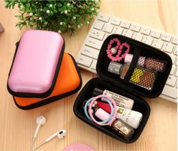eva key NZ - Colorful Earphone Storage Carrying Bag Rectangle Zipper Earpphone Earbud EVA Case Cover For USB Cable Key Coin Free DHL