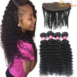 Discount 22 inch brazilian hair - Peruvian Deep Wave Hair Bundles With 4x13 Lace Closure Peruvian Deep Wave Human Hair Weave Bundles Ear to Ear Lace Front