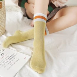 sox socks 2019 - Sping Harajuku Women Glitter Socks Casual Striped Socks Girls Silver Shiny Middle Length Woman Sox Calcetines Mujer disc
