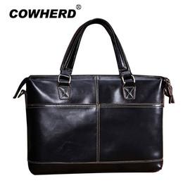 Handbags Business NZ - COWHERD Genuine Leather Bag Men Horizontal Laptop Tote Business Briefcases Crossbody Bags Messenger Handbag With Thread Pattern