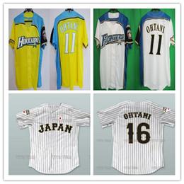 nippon 2019 - Custom 11 Shohei Otani Hokkaido Nippon-Ham Fighters Jerseys Yellow Blue White Pinstriped Japan Samurai 16 Shohei Otani B