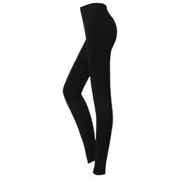 Wholesale Thick Leggings UK - LBFS Fashion Woman New Brushed Stretch Fleece Lined Thick Leggings Winter Pants Warm Leggings Black Grey 86 cm