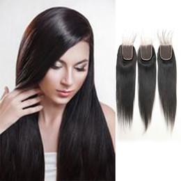 $enCountryForm.capitalKeyWord Australia - Grade 9A Straight Human Hair Closure Peruvian Virgin Free Part Middle Part Three Part 4*4 Closure 8inch-22inch For Sale