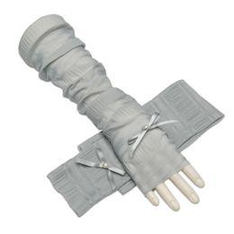 c64717e81 Summer Women Gloves Thin Long Driving Gloves Anti uv Silk Fingerless Ladies  Fashion Mitten Bow Female AGB676