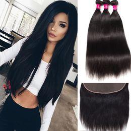 $enCountryForm.capitalKeyWord Canada - Brazilian Hair Straight Body Wave Loose Wave 3 Bundles With 13X4 Lace Closure 7A Unprocessed Peruvian Malaysian Brazilian Virgin Human Hair