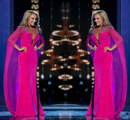 prom dresses made usa Canada - 2018 Bright Hot Pink Sheath Evening Dresses Miss USA Pageant Chiffon Beaded Collar Plunging Arabic Formal Prom Gowns With Cape