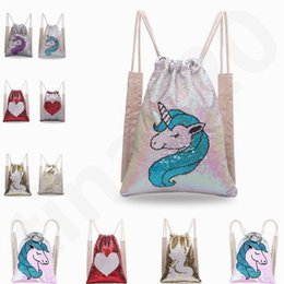 Wholesale New Style Mermaid Sequins Backpack Sports Bag Two sided Unicorn Drawstring Backpack Outdoor Shoulder Bag Bundle Pocket T7D068