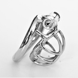arc cock ring UK - Newest Arc Shape Male Chastity Devices Metal Mens Super Small Cock Cage Stainless Steel Penis Restraints Locking Cock Ring BDSM Bondage