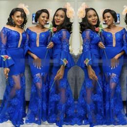 Blue Shirt For Wedding Australia - Royal Blue See Through Maid Of Honor Gowns For Wedding Trumpet Long Sleeves Mermaid Bridesmaid Dresses Custom Made Bridesmaid Dress Cheap
