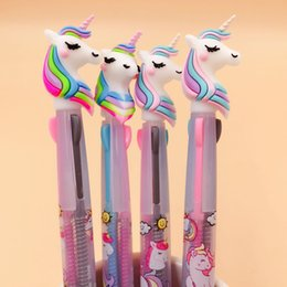 Plastic ballPoints Pens online shopping - Unicorn Silicone Head Color Press Ball Ballpoint Pen Writing Student Stationery School Office Supply mm