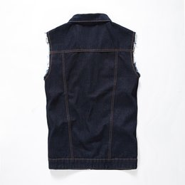 b4afebe4dd5b1f Mens Sleeveless Denim Jacket UK - 2016 Denim Vest Men Vests Brand Coats  Mens Patchwork Men s