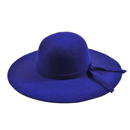 Discount blue bowler hats - Women's Wide Brim Felt Bowler Fedora Hat New Pillbox HatFloppy Sun Bowknot Cloche Cap Women's Large Hat 10 Col