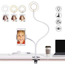 Nuevo Selfie Ring Light con soporte para teléfono móvil Stand para Live Stream Makeup Lámpara de escritorio LED Soporte perezoso Brazos largos Soporte para clip para teléfono móvil en venta